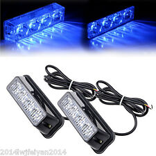Blue 4 LED Warning Emergency Beacon Hazard Strobe Flash Lights Bar SUV Truck Van