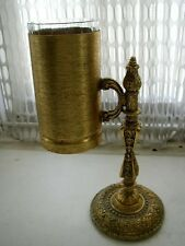 Vintage, Made in Italy, 2-pc Gilded Metal, 10in x 7in Vanity-Bath Glass Stand
