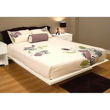 Full Size Platform Bed with Molding 54'' White Mattress Foundation Bedroom NEW