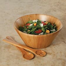 13 inch 3 piece Set Acacia Wood Salad Fruit Serving Bowl + Fork + Spoon