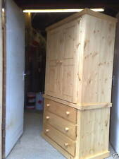 SOLID PINE GENTS 3 DRAWER WARDROBE NEW ANTIQUE WAXED NO FLAT PACKS NO ASSEMBLY