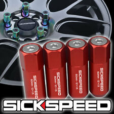 4 RED/POLISHED CAPPED ALUMINUM EXTENDED TUNER 60MM LUG NUTS WHEELS 12X1.5 L01