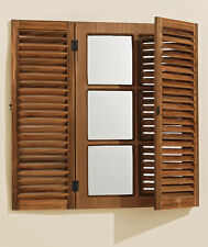 WALL MIRROR BROWN FREEMONTE WOOD WINDOW SHUTTERS MIRROR BAROQUE SHUTTER WINDOW