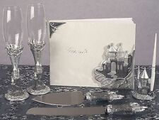 Cinderella Fairytale Castle Toasting Flutes Wedding Guest Book 6 Piece Set