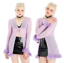 Purple Mesh Faux Fur Tie Top. Vintage Inspired. XS-L. Free Shipping!
