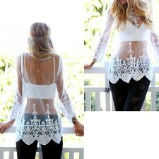Embroidery Floral Long Sleeve Lace Crochet Tops Bikini Cover Up Swimsuit T-Shirt
