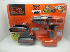 Black & Decker 20V Lithium Cordless Drill with 2 Lithium Ion Batteries LDX120C-2
