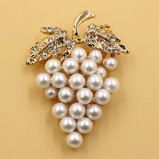 Gold Buckle Flower Crystal Rhinestone Plated Gold Grapes Brooch Pearl