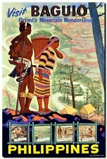 """Vintage Illustrated Travel Poster CANVAS PRINT Philippines Baguio 24""""X18"""""""