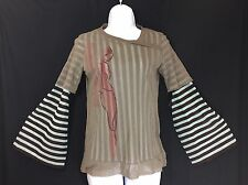 Cop Copine France Graphic Sheer Mesh Striped Longsleeve Top Blouse