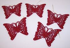Lot of 5 Red Glitter Butterfly Ornaments New Christmas Tree Holiday Ornament NIB