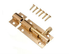 2 OF TOILET DOOR LOCK SURFACE BARREL BOLT 50MM POLISHED BRASS WITH SCREWS 16B2
