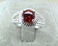 925 Sterling Silver Plated Ruby Blood Red Crystal Solitaire Ring Size 7.5