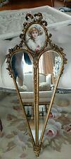 SHABBY anTIQUe VTG barbola ROSES heart frame FRENCH STYLE OLD GESSO WOOD