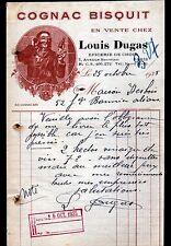 """PARIS (XIX°) EPICERIE CONFISERIE """"Louis DUGAS"""" Publicité COGNAC BISQUIT en 1935"""