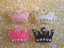 4 x Crystal Crown Flatback Resin Embellishment Crafts Hairbow Cabochon UK