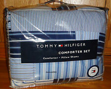 Tommy Hilfiger SANFORD 2pc TWIN COMFORTER Bed Set BLUE WHITE Patchwork XL Single