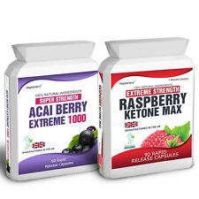 90 Raspberry Ketone Plus 60 Acai Berry Extreme Weight Loss Slimming Diet Pills