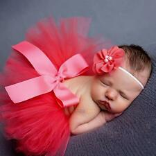 Baby Girls Infant Newborn Tutu Skirt Flower Headband Outfit Boutique Photo Prop