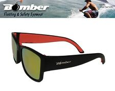 Bomber Floating GOMER Sunglasses Matte Black w/ Red Mirror Lens Mens Surfin