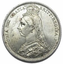 1887 SIXPENCE - VICTORIA BRITISH SILVER COIN - SUPERB