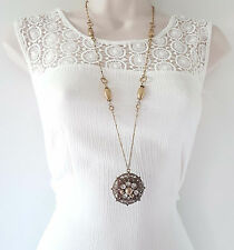 "Gorgeous 32"" long Boho - vintage gold tone chain & diamante pendant necklace"