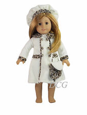 AFW CREAM COAT BERET LEOPARD TRIM Outfit for American Girl Dolls Jacket NEW