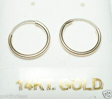 14Kt Solid Gold Thin 12MM Endless Hoop Earrings.................100% Guaranteed!