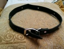 """Dog Collar black leather Metal Buckle new bite marks 28"""" silver conchos"""