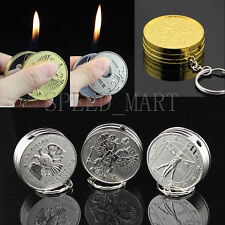 Novelty Coin Shaped Lighter Refillable Butane Gas Windproof Fire Cigarette Smoke