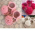 Newborn Toddler Baby Girls Handmade Flower Sandals Knitted Crochet Shoes