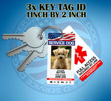 3X KEY CHAIN ID TAG CARD FOR EMOTIONAL THERAPY SUPPORT WORKING SERVICE DOG ADA .