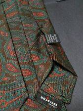 Kiton Tie New $295 Mint Made in Italy 100% Silk Seven Fold Exclusive Paisley