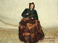 ANTIQUE 1800's VICTORIAN LADY COMPOSITION ORIGINAL DRESS MINIATURE 6'' DOLL