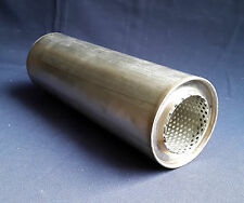 "63mm bore (2½"") 4"" Round x 14"" Long Universal Stainless steel exhaust silencer"