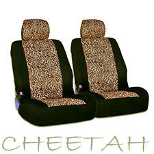 4 Pieces Safari Cheetah Print Universal Size Car Truck SUV Front Seat Covers Set