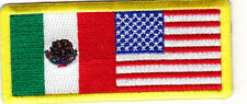 MEXICO & UNITED STATES FLAG w/YELLOW BORDER-Iron On Embroidered Patch