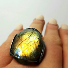 Handmade Labradorite Ring, Size 8 - 9 Oxidized Sterling Silver Rainbow Stone