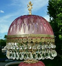 Stunning Vintage Victorian Cranberry Crystal Parlor Table Lamp Cherub