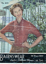 ~ Vintage 1950's Knitting Pattern For Lady's Dolman Sleeve Top To Knit ~