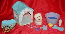 American Girl COCONUT DOG & HOUSE, PET TUB, BRUSH, CHARIOT, PINK FOOD DISH, DUCK