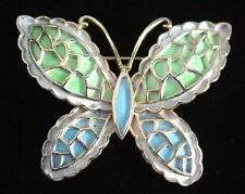 Vintage JJ BLUE GREEN Enamel BUTTERFLY Figural PIN/Brooch~70's Jonette Jewelry