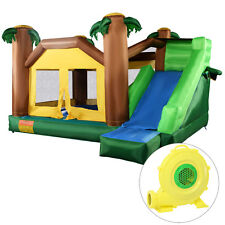 Goplus Inflatable Jungle Bounce House Jumper Bouncy Jump Castle w/ 680W Blower