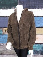 Athleta Brown Fuzzy Fleece Hooded Zip Front Jacket Sweater LARGE L