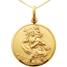 "9CT GOLD ST SAINT CHRISTOPHER PENDANT CHAIN NECKLACE WITH 18"" CHAIN - 24mm"