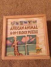 Wild Republic 6-in-1 Block Puzzle African Animal Wood 6 Pieces 6 Pictures, Case