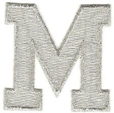 "1 7/8"" Bright Metallic Silver Monogram Block letter M Embroidery Patch"