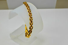 attractive 9 ct Gold fancy link bracelet 8.7g two row Panther style 7 1/2 inches