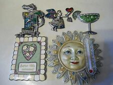 """REFRIGERATOR MAGNETS """"FUN"""" LOT OF 5 SPOONTIQUES SUN THERMOMETER, FLA., ANGEL"""