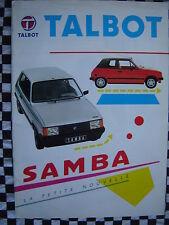 brochure TALBOT SAMBA CABRIOLET + GLS + GL + LS 1982 / français couleurs